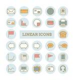 Raccolta delle icone lineari sottili di web di vettore: affare, media, comunicazioni Immagine Stock
