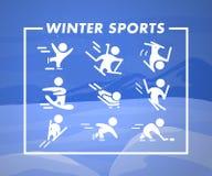 Raccolta delle icone piane degli sport invernali sul paesaggio della montagna di inverno colorato blu Immagine Stock