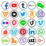 Raccolta delle icone sociali rotonde popolari di media Fotografia Stock Libera da Diritti