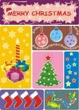 Raccolta delle illustrazioni allegre di vettore di Christmass Fotografie Stock
