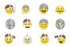 Raccolta delle illustrazioni degli emoticon dei cavalieri Immagini Stock
