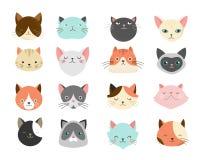 Raccolta delle illustrazioni dei gatti Fotografie Stock