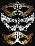 Raccolta delle illustrazioni del fumetto delle maschere facciali dipinte veneziane di carnevale per un partito illustrazione di stock