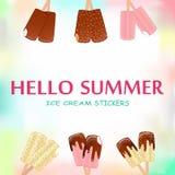 Raccolta delle illustrazioni di vettore del gelato illustrazione di stock