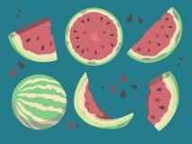 Raccolta delle illustrazioni di vettore del melone compreso i frutti, i pezzi, le fette ed i semi pieni royalty illustrazione gratis