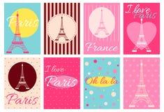 Raccolta delle insegne con la torre Eiffel Fotografia Stock Libera da Diritti