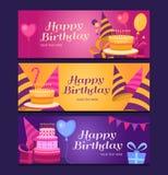 Raccolta delle insegne di buon compleanno Immagini Stock Libere da Diritti