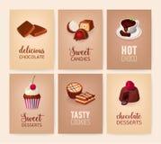 Raccolta delle insegne variopinte con i dessert deliziosi o piatti dolci saporiti e bevande - biscotti, caramelle, calde illustrazione di stock