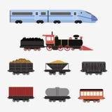 Raccolta delle locomotive ferroviarie, dei vagoni dei passeggeri e dei treni di velocità Fotografie Stock