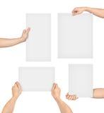Raccolta delle mani che tengono carta Fotografia Stock