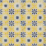 Raccolta delle mattonelle blu e gialle dei modelli Fotografia Stock Libera da Diritti