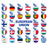 Raccolta delle mele con le bandiere di Unione Europea Fotografie Stock