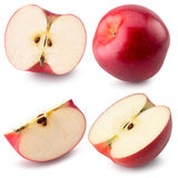 Raccolta delle mele rosse isolate sui precedenti bianchi Fotografia Stock Libera da Diritti