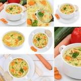 Raccolta delle minestre della minestra di pasta in ciotola con le tagliatelle Immagini Stock