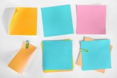 Raccolta delle note della carta in bianco. Fotografie Stock