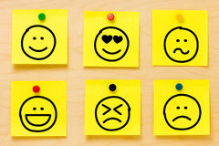 Raccolta delle note di Post-it degli emoticon Fotografia Stock