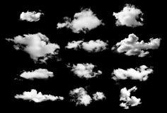Raccolta delle nuvole del whtie su fondo nero Fotografia Stock Libera da Diritti