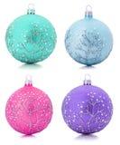 Raccolta delle palle dell'albero di Natale isolate sul backgro bianco Fotografie Stock Libere da Diritti