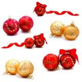 Raccolta delle palle della decorazione di natale delle foto Fotografia Stock Libera da Diritti
