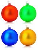 Raccolta delle palle di Natale isolate sui precedenti bianchi Fotografia Stock Libera da Diritti
