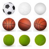 Raccolta delle palle di sport Fotografie Stock Libere da Diritti