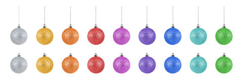 Raccolta delle palle variopinte di Natale isolate su fondo bianco Fotografie Stock Libere da Diritti