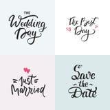 Raccolta delle partecipazioni di nozze con iscrizione disegnata a mano Frase per gli inviti di nozze Fotografia Stock