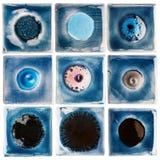 Raccolta delle piastrelle di ceramica lustrate fatte a mano Fotografie Stock
