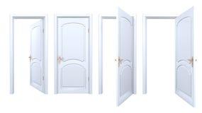Raccolta delle porte bianche isolate dell'arco Fotografia Stock