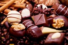Raccolta delle praline differenti del cioccolato zuccherato Immagine Stock Libera da Diritti
