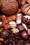 Raccolta delle praline differenti del cioccolato zuccherato Fotografia Stock