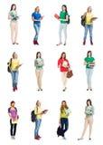 Raccolta delle ragazze attraenti della scuola su fondo isolato Immagine Stock Libera da Diritti