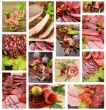 Raccolta delle salsiccie e della carne Fotografie Stock