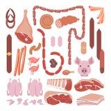 Raccolta delle salsiccie e della carne Fotografia Stock Libera da Diritti
