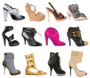 Raccolta delle scarpe delle donne Fotografie Stock Libere da Diritti