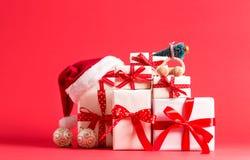 Raccolta delle scatole del regalo di Natale Fotografia Stock Libera da Diritti