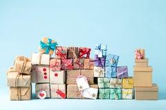 Raccolta delle scatole del regalo di Natale Fotografie Stock