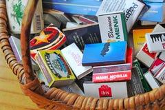 Raccolta delle scatole di fiammiferi Fotografia Stock Libera da Diritti