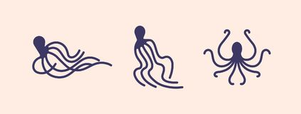 Raccolta delle siluette del polipo isolate su fondo leggero Insieme dell'animale marino o del mollusco con i tentacoli dentro illustrazione vettoriale