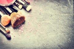 Raccolta delle spazzole professionali di trucco Fotografia Stock