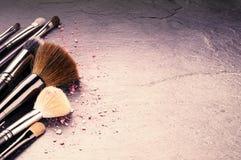 Raccolta delle spazzole professionali di trucco Fotografie Stock Libere da Diritti