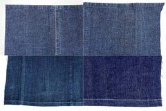 Raccolta delle strutture blu scuro del tessuto dei jeans Fotografia Stock Libera da Diritti