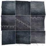 Raccolta delle strutture nere del tessuto dei jeans Fotografia Stock