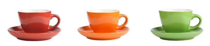 Raccolta delle tazze colorate Immagine Stock