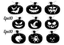 Raccolta delle zucche per la festa di Halloween, siluetta illustrazione di stock