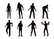 Raccolta dello zombie di vettore nello stile della siluetta immagine stock libera da diritti