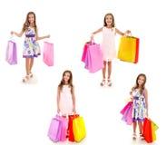 Raccolta di acquisto adorabile della tenuta del bambino della bambina delle foto Immagine Stock