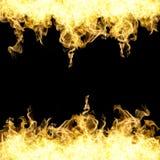 Raccolta di alta risoluzione del fuoco delle fiamme isolate sul nero Fotografie Stock Libere da Diritti