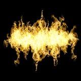 Raccolta di alta risoluzione del fuoco delle fiamme isolate sulla parte posteriore del nero Fotografie Stock Libere da Diritti
