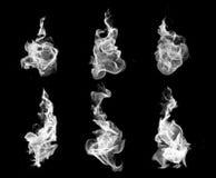 Raccolta di alta risoluzione del fuoco delle fiamme isolate sulla parte posteriore del nero Fotografie Stock